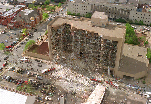 FILE - This Wednesday, April 19, 1995 file photo shows the north side of the Alfred Murrah Federal Building in Oklahoma City after the deadliest act of domestic terrorism in U.S. history. (AP Photo)