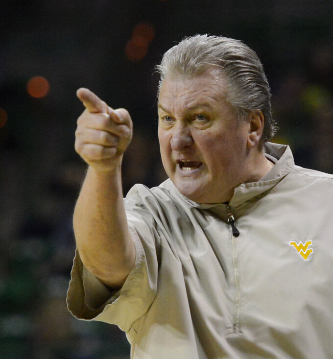 West Virginia head coach Bob Huggins points to a player during their matchup with Baylor in the second half of an NCAA college basketball game, Saturday, Feb. 23, 2019, in Waco, Texas. Baylor won 82-75.(Ernesto Garcia/Waco Tribune-Herald via AP)