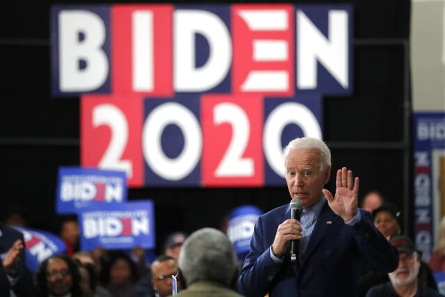 Democratic presidential candidate former Vice President Joe Biden speaks at a campaign event in Sumter, S.C., Friday, Feb. 28, 2020. (AP Photo/Gerald Herbert)
