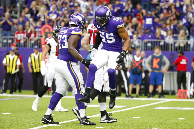Minnesota Vikings outside linebacker Anthony Barr celebrates after sacking Atlanta Falcons quarterback Matt Ryan during the first half of an NFL football game, Sunday, Sept. 8, 2019, in Minneapolis. (AP Photo/Bruce Kluckhohn)