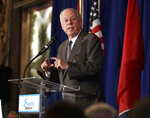 FILE - In this Friday, Aug. 24, 2018 file photo, Democratic former Gov. Phil Bredesen speaks at a summit on the opioid crisis put on by Healthy Tennessee, in Nashville, Tenn. U.S. Senate candidate Bredesen has taken some soft jabs at Republican opponent Marsha Blackburn for refusing to debate him in Memphis. Bredesen, a Democrat, answered questions at a forum at Rhodes College in Memphis on Thursday, Sept. 13, 2018. (AP Photo/Mark Humphrey, File)