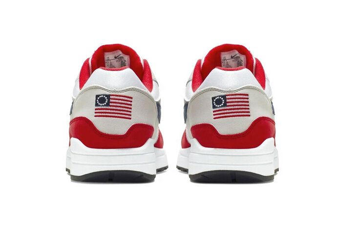 This undated product image obtained by the Associated Press shows Nike Air Max 1 Quick Strike Fourth of July shoes that have a U.S. flag with 13 white stars in a circle on it, known as the Betsy Ross flag, on them. Nike is pulling the flag-themed tennis shoe after former NFL quarterback Colin Kaepernick complained to the shoemaker, according to the Wall Street Journal. (Nike via AP Photo)