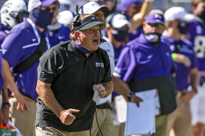 FILE- In this Sept. 26, 2020, file photo, TCU head coach Gary Patterson shouts instructions to his players during an NCAA college football game against Iowa State in Fort Worth, Texas. TCU plays their season opener Saturday night against FCS team Duquesne. (AP Photo/Brandon Wade, File)
