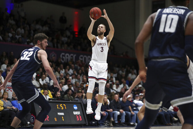 Saint Mary's guard Jordan Ford (3) shoots during the first half of the team's NCAA college basketball game against Utah State in Moraga, Calif., Friday, Nov. 29, 2019. (AP Photo/Jed Jacobsohn)