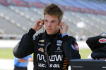 Oliver Askew prepares for qualifying for an IndyCar auto race at Texas Motor Speedway in Fort Worth, Texas, Saturday, June 6, 2020. (AP Photo/Tony Gutierrez)