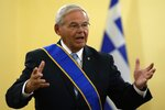 US Senator Bob Menendez, chairman of the Senate Foreign Relations Committee speaks after he awarded with the Grand Cross of the Order of the Redeemer by Greek President Katerina Sakellaropoulou at the Presidential Palace in Athens, Friday, Aug. 27, 2021. Menendez on his two-day trip in Greece, discussed with top Greek officials the strategic relationship between Greece and the US as well as developments in the eastern Mediterranean and the Middle East. (AP Photo/Thanassis Stavrakis)