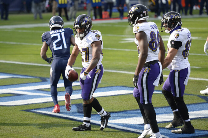 Baltimore Ravens running back J.K. Dobbins (27) celebrates after scoring a touchdown against the Tennessee Titans in the second half of an NFL wild-card playoff football game Sunday, Jan. 10, 2021, in Nashville, Tenn. (AP Photo/Mark Zaleski)