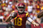 Southern California quarterback Jt Daniels scrambles with the ball during the first half of an NCAA college football game against UNLV, Saturday, Sept. 1, 2018, in Los Angeles. (AP Photo/Mark J. Terrill)