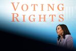 Vice President Kamala Harrisspeaks about voting rights, Wednesday, June 23, 2021, during a virtual event at the South Court Auditorium on the White House complex in Washington. (AP Photo/Jacquelyn Martin)