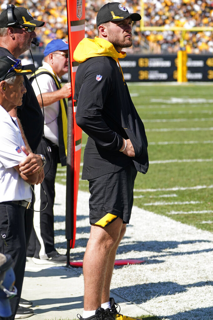 Pittsburgh Steelers outside linebacker T.J. Watt stands on the sideline after being injured during the second half of an NFL football game against the Las Vegas Raiders in Pittsburgh, Sunday, Sept. 19, 2021. (AP Photo/Keith Srakocic)