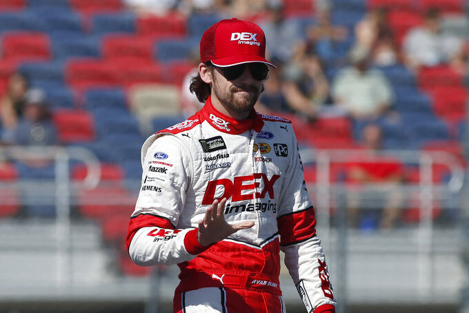 Ryan Blaney during driver introductions prior to the NASCAR Cup Series auto race at ISM Raceway, Sunday, Nov. 10, 2019, in Avondale, Ariz. (AP Photo/Ralph Freso)