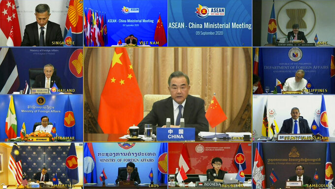 In this image taken from video provided by VTV, Chinese Foreign Minister Wang Yi speaks during an online meeting with ASEAN foreign ministers on Wednesday, Sept. 9, 2020. Southeast Asia's top diplomats held their annual talks by video Wednesday to discuss the immense crisis wrought by the coronavirus pandemic and rising tensions in the South China Sea amid the escalating rivalry between Washington and Beijing. (VTV via AP)
