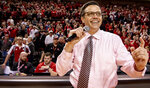 Nebraska coach Tim Miles addresses fans after the team's 80-76 win over Butler during an NCAA college basketball game in the NIT on Wednesday, March 20, 2019, in Lincoln, Neb. (Francis Gardler/Lincoln Journal Star via AP)