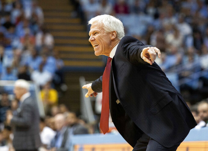 Davidson head coach Bob McKillop reacts to a call during the first half of an NCAA college basketball game against North Carolina in Chapel Hill, N.C., Saturday, Dec. 29, 2018. (AP Photo/Ben McKeown)
