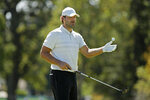 Tony Romo prepares to putt on the third green of the Silverado Resort North Course during the pro-am event of the Safeway Open PGA golf tournament Wednesday, Sept. 25, 2019, in Napa, Calif. (AP Photo/Eric Risberg)
