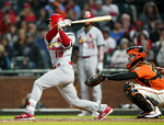 St. Louis Cardinals' Tommy Edman follows through on an RBI triple against the San Francisco Giants during the fourth inning of a baseball game in San Francisco, Friday, July 5, 2019. (AP Photo/Tony Avelar)