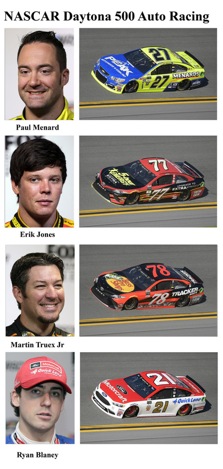 Paul Menard, Erik Jones, Martin Truex Jr, Ryan Blaney