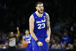 Seton Hall's Sandro Mamukelashvili celebrates after a turnover by Villanova during the second half of an NCAA college basketball game, Saturday, Feb. 8, 2020, in Philadelphia. (AP Photo/Matt Slocum)