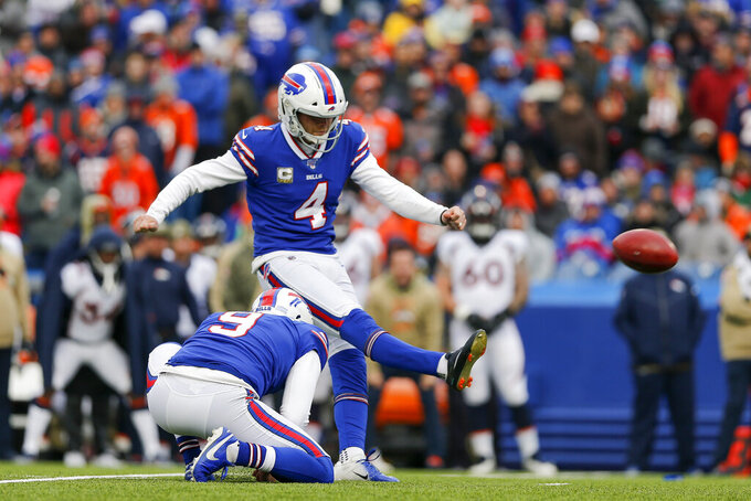 Buffalo Bills kicker Stephen Hauschka (4) kicks a field goal against the Denver Broncos during the first quarter of an NFL football game, Sunday, Nov. 24, 2019, in Orchard Park, N.Y. (AP Photo/John Munson)