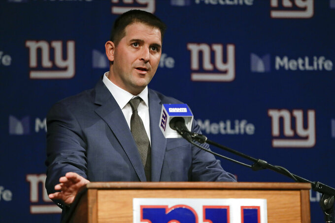 FILE - In this Jan. 9, 2020, file photo, Joe Judge, the new coach of the New York Giants NFL football team, speaks during a news conference in East Rutherford, N.J. The 38-year-old rose to the top quickly by being prepared. It is how he is approaching this time of isolation caused by the coronavirus pandemic. It's something no other coach has gone through, so Judge does not see himself at a disadvantage in starting to  rebuild a team that has won 12 games in three seasons. (AP Photo/Frank Franklin II, File)