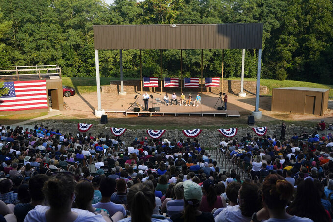 Sen. Bernie Sanders, I-Vt., speaks during a town hall at Tippecanoe County Amphitheater, Friday, Aug. 27, 2021, in West Lafayette, Ind. The Vermont senator is in Trump country this weekend, promoting a budget plan packed with progressive initiatives and financed by higher taxes on top earners. (AP Photo/Darron Cummings)
