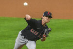 Cleveland Indians starting pitcher Shane Bieber throws to a Minnesota Twins batter during the first inning of a game Friday, Sept. 11, 2020, in Minneapolis. (AP Photo/Craig Lassig)
