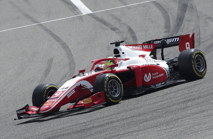 Mick Schumacher steers his Prema Racing car during the Formula 2 Grand Prix at the Formula One Bahrain International Circuit in Sakhir, Bahrain, Saturday, March 30, 2019. (AP Photo/Hassan Ammar)