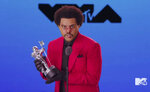 In this video grab issued Sunday, Aug. 30, 2020, by MTV, The Weeknd accepts the video of the year award for