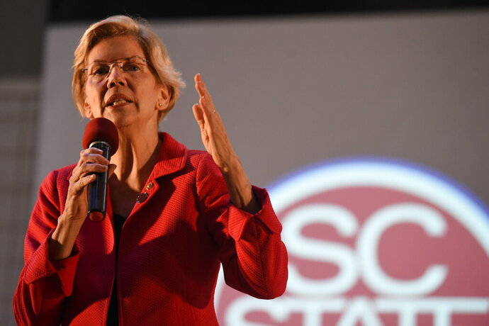 """FILE - In this Oct. 9, 2019, file photo, Democratic presidential candidate Sen. Elizabeth Warren speaks about the student loan debt relief legislative at South Carolina State University in Orangeburg, S.C. Warren has been rising in the polls for months, has become a Democratic presidential primary front runner who is being portrayed by Kate McKinnon on """"Saturday Night Live."""" But for many, Warren is still a relative unknown.  (AP Photo/Meg Kinnard, File)"""