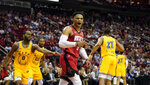 Houston Rockets' Russell Westbrook (0) looks for a foul call after making a basket against the Golden State Warriors during the second half of an NBA basketball game Wednesday, Nov. 6, 2019, in Houston. The Rockets won 129-112. (AP Photo/David J. Phillip)