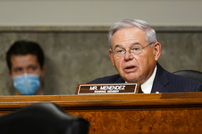 Senate Foreign Relations Committee ranking member Sen. Bob Menendez, D-N.J., speaks on Capitol Hill in Washington, Thursday, Sept. 24, 2020, during a hearing on U.S. policy in a changing Middle East. (AP Photo/Susan Walsh, Pool)