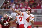 Kansas City Chiefs quarterback Chad Henne (4) passes against the San Francisco 49ers during the first half of an NFL preseason football game in Santa Clara, Calif., Saturday, Aug. 14, 2021. (AP Photo/Tony Avelar)