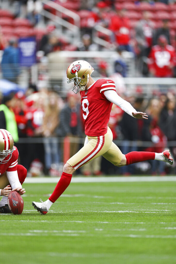 San Francisco 49ers kicker Robbie Gould (9) kicks a field goal during warm-ups in the NFL NFC Championship football game against the Green Bay Packers, Sunday, Jan. 19, 2020 in Santa Clara, Calif. The 49ers defeated the Packers 37-20. (Margaret Bowles via AP)