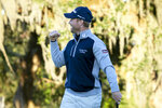 FILE  - In this Nov. 24 2019, file photo, Tyler Duncan pumps his fist after winning a second-hole playoff against Webb Simpson during the final round of the RSM Classic golf tournament in St. Simons Island, Ga. Duncan has had to wait nearly a year to play in the Masters. (AP Photo/Stephen B. Morton, File)
