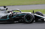 Mercedes driver Lewis Hamilton of Britain steers his car during the British Formula One Grand Prix at the Silverstone racetrack, Silverstone, England, Sunday, July 14, 2019. (AP Photo/Luca Bruno)