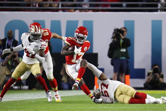 Kansas City Chiefs' Mecole Hardman (17) runs against the San Francisco 49ers during the first half of the NFL Super Bowl 54 football game Sunday, Feb. 2, 2020, in Miami Gardens, Fla. (AP Photo/Lynne Sladky)