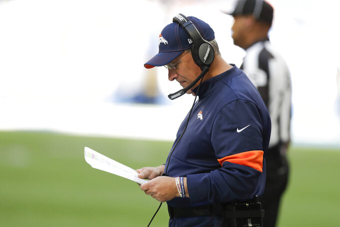 Denver Broncos head coach Vic Fangio looks at his play chart during the second half of an NFL football game against the Indianapolis Colts, Sunday, Oct. 27, 2019, in Indianapolis. (AP Photo/Michael Conroy)