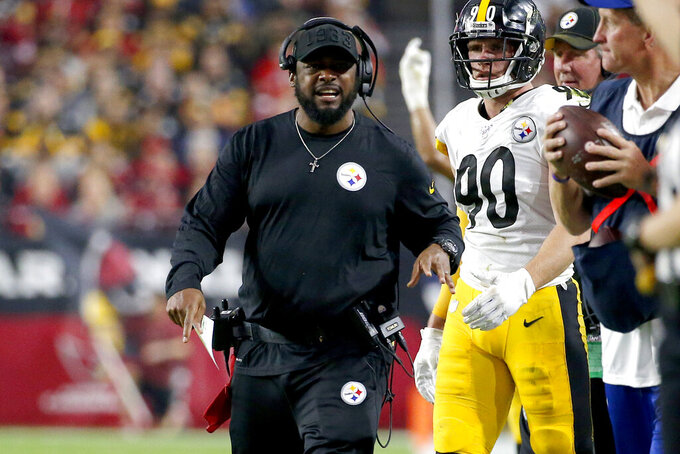 Pittsburgh Steelers head coach Mike Tomlin yells during the first half of an NFL football game against the Arizona Cardinals, Sunday, Dec. 8, 2019, in Glendale, Ariz. (AP Photo/Rick Scuteri)