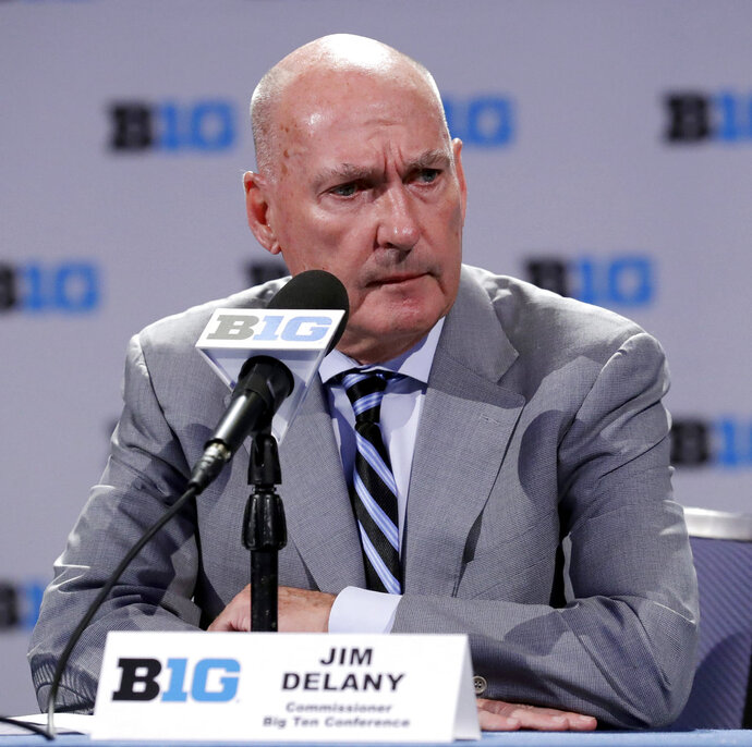 Big Ten Commissioner Jim Delany listens to a question at a press conference during Big Ten NCAA college basketball media day Thursday, Oct. 11, 2018, in Rosemont, Ill. (AP Photo/Nam Y. Huh)