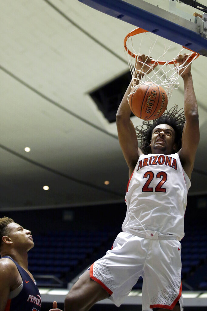Arizona forward Zeke Nnaji, right, dunks next to Pepperdine forward Kameron Edwards during the second half of an NCAA college basketball game at the Wooden Legacy tournament in Anaheim, Calif., Thursday, Nov. 28, 2019. (AP Photo/Alex Gallardo)