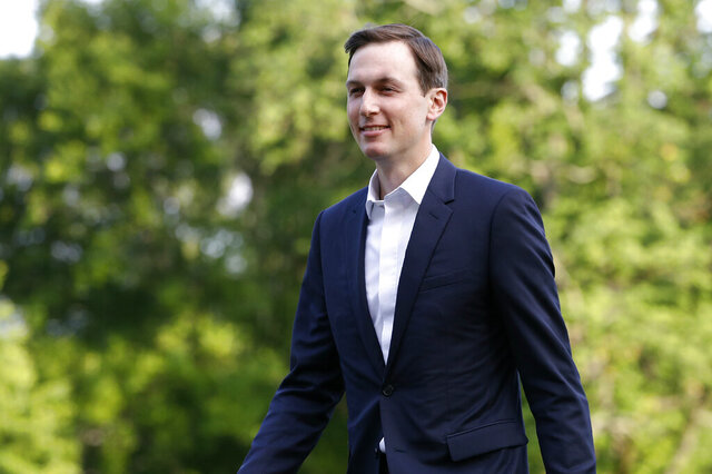 FILE - In this Sunday, June 14, 2020, file photo, Jared Kushner, President Donald Trump's White House senior adviser, follows Trump across the South Lawn of the White House in Washington, after stepping off Marine One. Trump's long-in-coming campaign shakeup rearranged some big job titles but isn't likely to change the identity of the person truly in charge of day-to-day operations: Kushner. (AP Photo/Patrick Semansky, File)