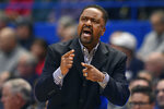 Tulsa head coach Frank Haith reacts in the first half of an NCAA college basketball game against Connecticut, Sunday, Jan. 26, 2020, in Hartford, Conn. (AP Photo/Jessica Hill)