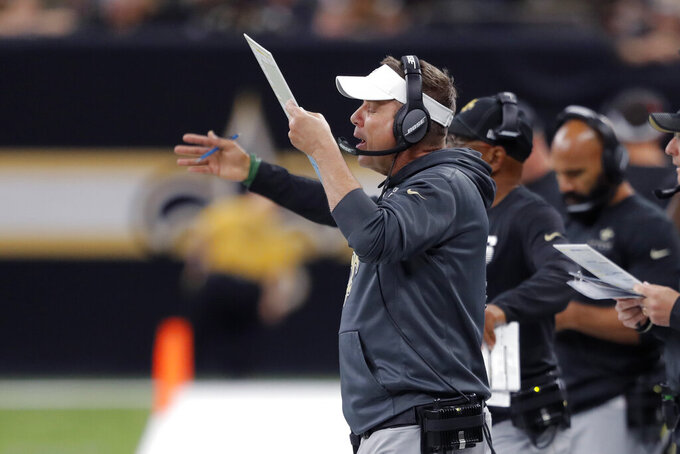 New Orleans Saints head coach Sean Payton calls out from the sideline in the first half of an NFL football game against the Arizona Cardinals in New Orleans, Sunday, Oct. 27, 2019. (AP Photo/Bill Feig)