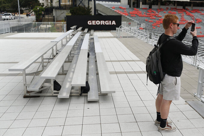 Newly-installed bleacher seats at Sanford Stadium were installed ahead of this weekend's big game with Notre Dame in Athens, Ga., on Wednesday, Sept. 18, 2019. The university is installing 500 additional seats for the game. (Joshua L. Jones/Athens Banner-Herald via AP)