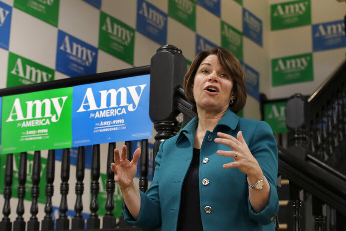 Democratic presidential candidate Sen. Amy Klobuchar, D-Minn., speaks at a campaign event, Tuesday, Dec. 3, 2019, in Milford, N.H. (AP Photo/Elise Amendola)