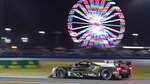 Tristain Vautier, of France, drives the Cadillac DPi into the east horseshoe turn during the Rolex 24 hour auto race at Daytona International Speedway, Saturday, Jan. 30, 2021, in Daytona Beach, Fla. (AP Photo/John Raoux)