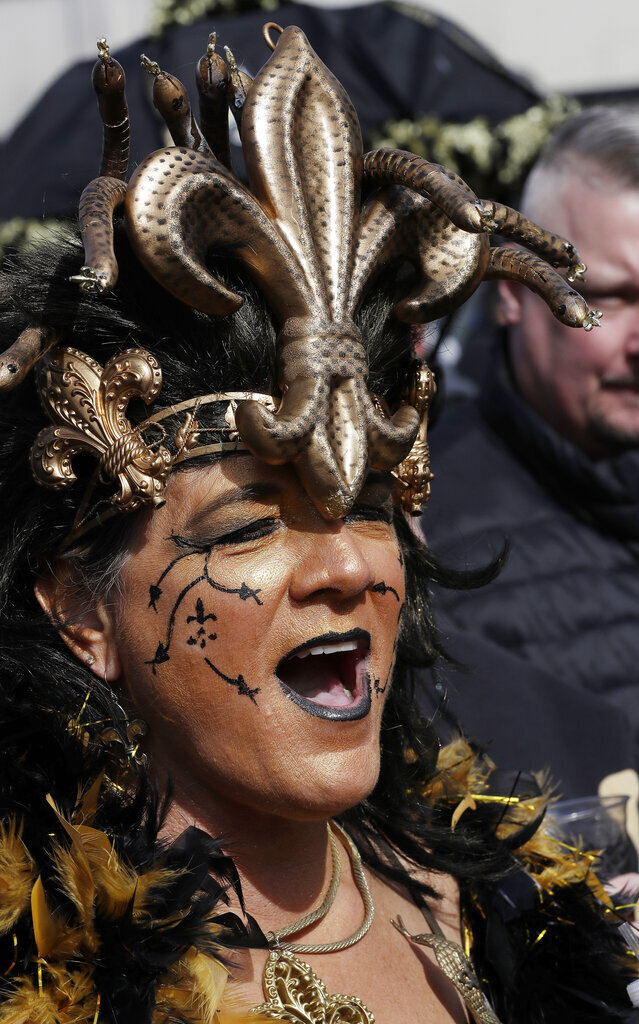 Greer Griffin yells before the NFL football NFC championship game between the New Orleans Saints and the Los Angeles Rams Sunday, Jan. 20, 2019, in New Orleans. (AP Photo/David J. Phillip)