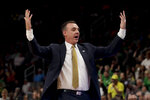 UC Irvine head coach Russell Turner reacts during the first half of a second-round game against Oregon in the NCAA men's college basketball tournament Sunday, March 24, 2019, in San Jose, Calif. (AP Photo/Jeff Chiu)