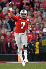 Ohio State quarterback Dwayne Haskins throws a pass during the second half of the team's Rose Bowl NCAA college football game against Washington on Tuesday, Jan. 1, 2019, in Pasadena, Calif. (AP Photo/Mark J. Terrill)