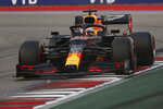 Red Bull driver Max Verstappen of the Netherlands steers his car during the qualification for the upcoming Russian Formula One Grand Prix, at the Sochi Autodrom circuit, in Sochi, Russia, Saturday, Sept. 26, 2020. The Russian Formula One Grand Prix will take place on Sunday. (Maxim Shemetov/Pool Photo via AP)